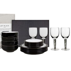 Denby Jet Black 12 Piece Set With Glasses