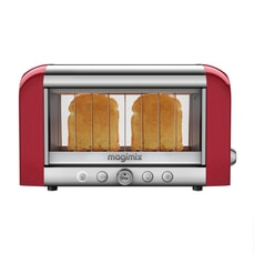 Magimix Vision 2 Slice Stainless Steel And Glass Toaster - Red