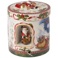 Villeroy And Boch Christmas Toys Large Round Gift Box Santas Flight