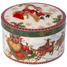 Villeroy And Boch Christmas Toys Medium Round Gift Box Santas Flight