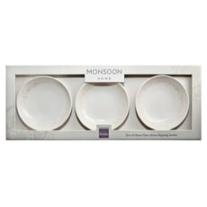 Denby Monsoon Lucille Gold Set Of 3 Dipping Bowls