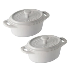 Staub Ceramic 11cm Oval Cocotte White Set Of 2