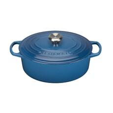 Le Creuset Signature Cast Iron 25cm Oval Casserole Marseille Blue