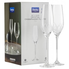 Denby Crystal Lotus Champagne Flutes Set Of 4