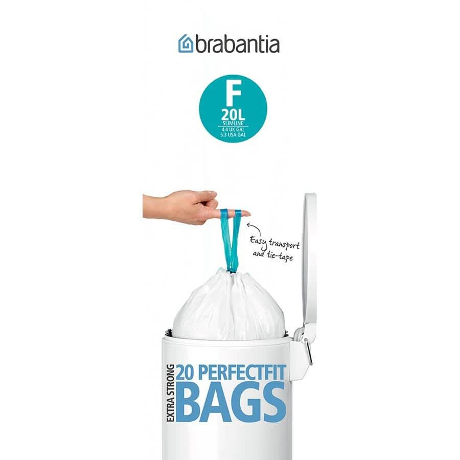 Brabantia Bin Liners F Pack of 20 (Slim 20L)