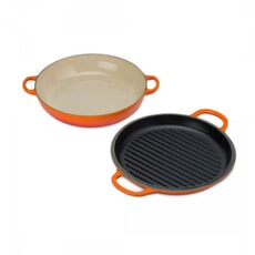 Le Creuset Signature Cast Iron Shallow Casserole with Grill Lid Volcanic