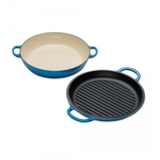 Le Creuset Signature Cast Iron Shallow Casserole with Grill Lid Marseille