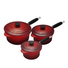 Le Creuset Cast Iron 3 piece Saucepan Set Cerise