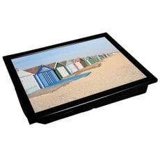 Denby Lap Trays - Beach Huts With Black Edge