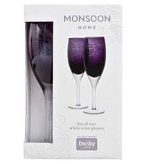 Denby Monsoon Cosmic White Wine Glasses Set Of 2