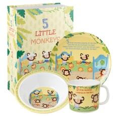 Churchill Little Rhymes - 5 Little Monkeys 3 Piece Melamine Set