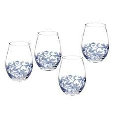 Spode Blue Italian - Stemless Wine Glasses Set 4