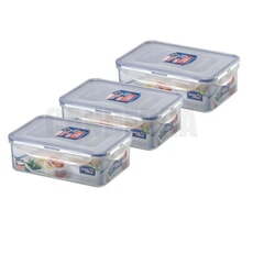 Lock and Lock 1.4 Litre Rectangular Container - 3 Pack