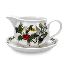 Portmeirion Holly and Ivy - Gravy Boat And Stand