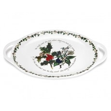 Portmeirion Holly and Ivy - Oval Handled Platter 18 Inch