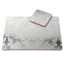 Portmeirion Pimpernel - Damask Silver Placemats Set Of 4