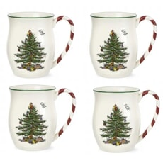 Spode Christmas Tree Mug With Peppermint Handles