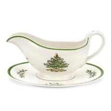 Spode Christmas Tree Sauce Boat And Stand