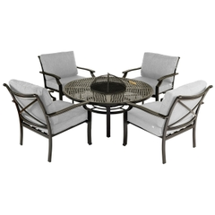 Jamie Oliver Traditional Fire Pit Set Riven With Pewter Silver Cushions