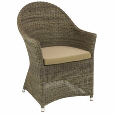 Monte Carlo Brown Curved Top Chair (2.5mm) With Ecru Cushion
