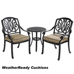 Hartman Amalfi Bistro Set Weatherready Cushions Bronze/Fawn