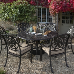 Hartman Amalfi 6 Seat Round Table Set Weatherready Cushions Bronze/Fawn