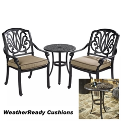 Hartman Amalfi Bistro Set with Ice Bucket Weatherready Cushions Bronze/Fawn
