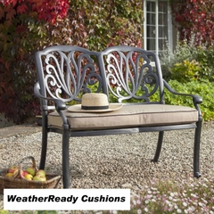 Hartman Amalfi Bench Weatherready Cushion Bronze/Fawn