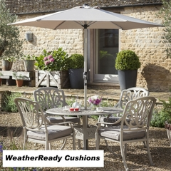 Hartman Amalfi 4 Seat Round Table Set Weatherready Cushions Maize/Taupe