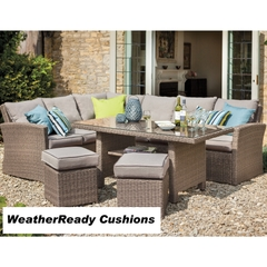 Hartman Appleton Rectangular Casual Dining Set Weatherready Cushions Bark/Sand With Cover