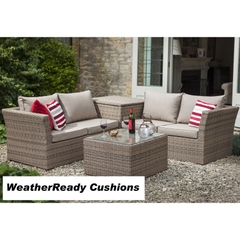 Hartman Madison/Appleton Cushion Storage Coffee Table Corner Set Weatherready Cushions Bark/Sand