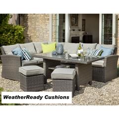 Hartman Madison/Appleton Rectangular Casual Dining Set Weatherready Cushions Slate/Stone