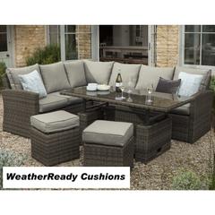 Hartman Madison/Appleton Adjustable Rectangular Casual Dining Set Weatherready Cushions Slate/Stone