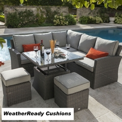 Hartman Madison/Appleton Square Adjustable Casual Dining Set Weatheready Cushions Slate/Stone