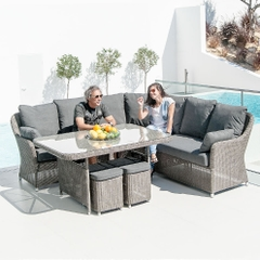 Alexander Rose Casual Dining Square Table Set Grey