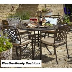 Hartman Berkeley 4 Seat Round Table Set Weatherready Cushions Bronze/Dune
