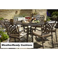 Hartman Berkeley 6 Seat Round Table Set Weatherready Cushions Bronze/Dune