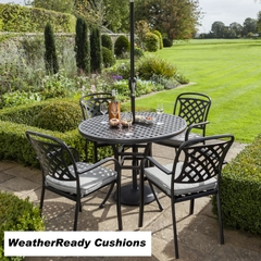 Hartman Berkeley 4 Seat Round Table Set Weather Ready Cushions Midnight/Shadow