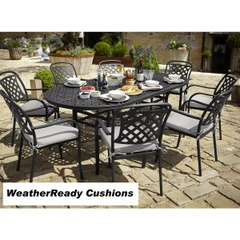 Hartman Berkeley 8 Seat Oval Table Set Weather Ready Cushions Midnight/Shadow