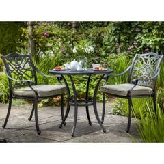 Hartman Capri Bistro Garden Furniture Set 2017 Bronze with Wheatgrass Cushions