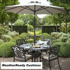 Hartman Capri 4 Seat Round Table Set Weatherready Cushions Bronze/Wheatgrass