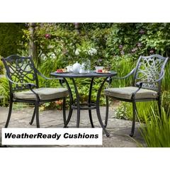 Hartman Capri 2 Seat Bistro Set Weatherready Cushions Bronze/Wheatgrass