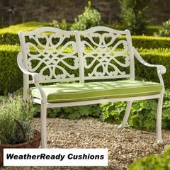 Hartman Capri Zest Bench Weatherready Cushions Royal White/Lime