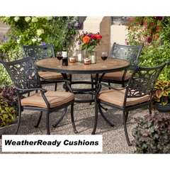 Hartman Celtic Aria 4 Seat Round Set Weatherready Cushions Bronze/Pumpkin