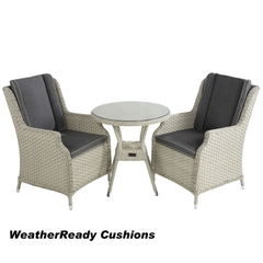 Hartman Hartford Bistro Set Weatherready Cushions White Wash/Pebble