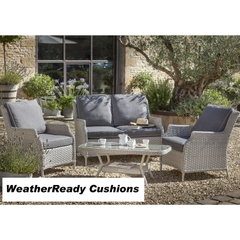 Hartman Hartford 2 Seat Sofa Lounge Set Weatherready Cushions White Wash/Pebble