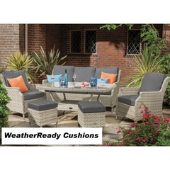 Hartman Hartford 3 Seat Sofa Casual Lounge Set Weatherready Cushions  White Wash/Pebble