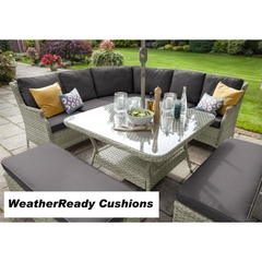 Hartman Hartford Curved Casual Dining Set Weatherready Cushions White Wash/Pebble
