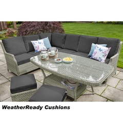 Hartman Hartford Rectangular Casual Dining Set Weatherready Cushions White Wash/Pebble