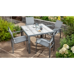 Hartman Georgia 4 Seat Ceramic Rectangular Table Set - Platinum/Dusk